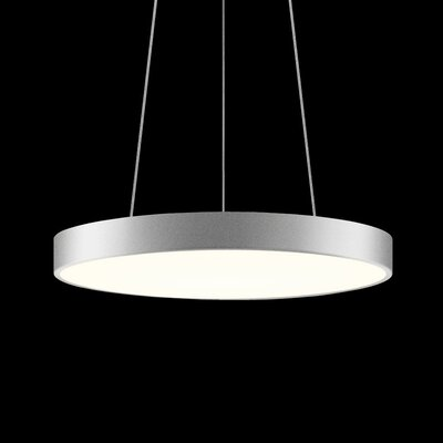 Pi 1-Light Drum Pendant Finish: Bright Satin Aluminum, Size: 2 H x 20 W