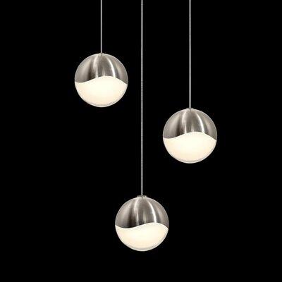 Grapes? 3-Light Globe Pendant Size: Large, Finish: Satin Nickel