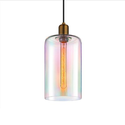 Cloche 1-Light Mini Pendant Finish: Retro Brass, Shade Color: Light Dichroic, Size: 14.75 H x 7 W