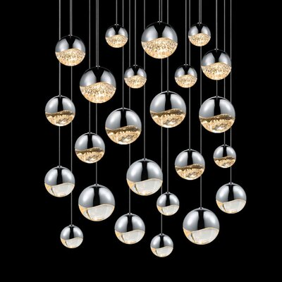 Grapes 24-Light Cascade Pendant Finish: Polished Chrome, Size: Assorted