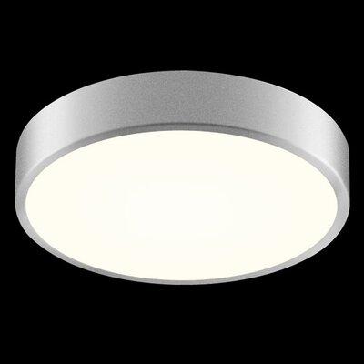 Pi 1-Light Flush Mount Size: 2 H x 12 W, Finish: Bright Satin Aluminum