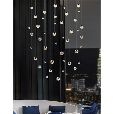 Grapes 16-Light Cascade Pendant Finish: Polished Chrome, Size: Assorted