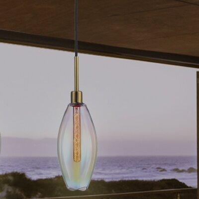 Lillia 1-Light Mini Pendant Finish: Retro Brass, Shade Color: Light Dichroic