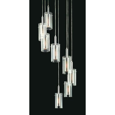 Zylinder Contemporary 8-Light Linear Foyer Pendant