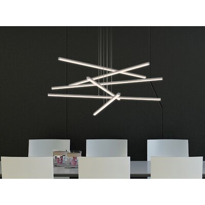Penndel 6-Light Geometric Pendant Finish: Bright Satin Aluminum