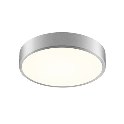 Pi 1-Light Flush Mount Finish: Bright Satin Aluminum, Size: 2 H x 8 W