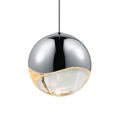 Grapes? 1-Light Globe Pendant Finish: Polished Chrome, Size: Small