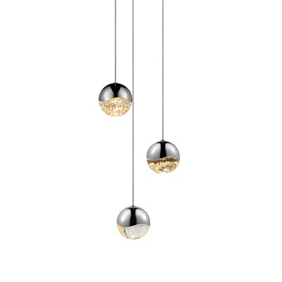 Grapes? 3-Light Globe Pendant Finish: Polished Chrome, Size: Assorted