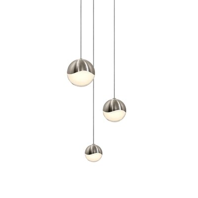 Grapes? 3-Light Globe Pendant Finish: Satin Nickel, Size: Small