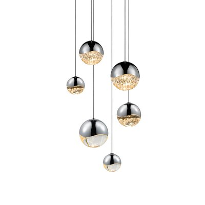Grapes? 6-Light Globe Pendant Finish: Polished Chrome, Size: Medium