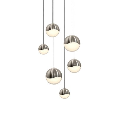 Grapes? 6-Light Globe Pendant Size: Small, Finish: Satin Nickel