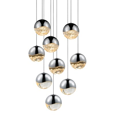 Grapes? 9-Light Globe Pendant Finish: Polished Chrome, Size: Assorted
