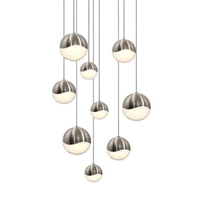Grapes? 9-Light Globe Pendant Size: Large, Finish: Satin Nickel