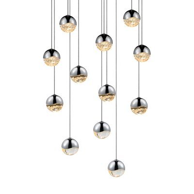 Grapes 12-Light Cascade Pendant Finish: Polished Chrome, Size: Medium