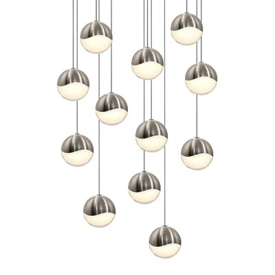Grapes 12-Light Cascade Pendant Size: Assorted, Finish: Satin Nickel