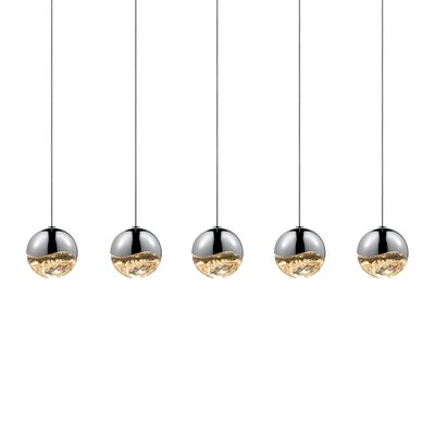 Grapes? 5-Light Kitchen Island Pendant Finish: Polished Chrome, Size: Small