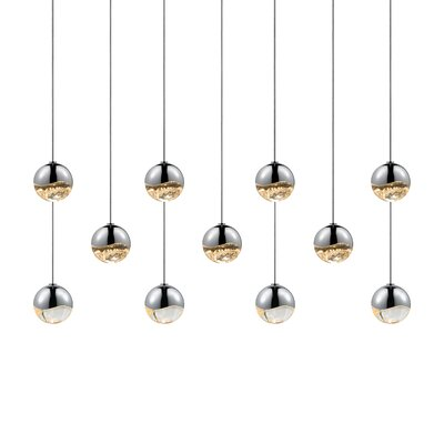 Grapes 11-Light Kitchen Island Pendant Finish: Polished Chrome, Size: Large