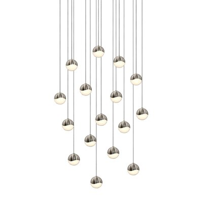 Grapes 16-Light Cascade Pendant Finish: Satin Nickel, Size: Medium