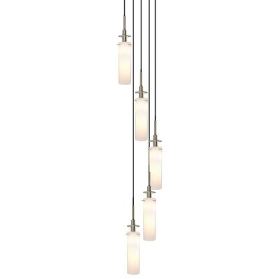 Candle 5-Light Round Pendant Finish: Satin Nickel