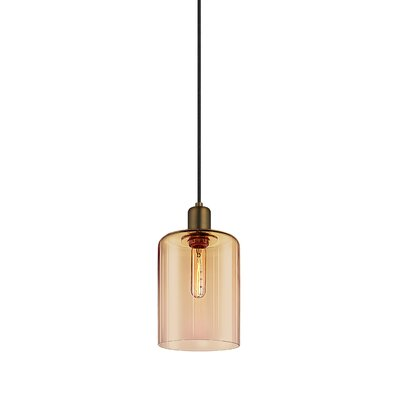 Cloche 1-Light Mini Pendant Shade Color: Smoke Bronze, Finish: Retro Brass, Size: 14.75 H x 7 W
