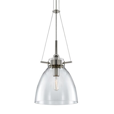 Castelli 1-Light Foyer Pendant Glass Color: Clear, Finish: Polished Nickel