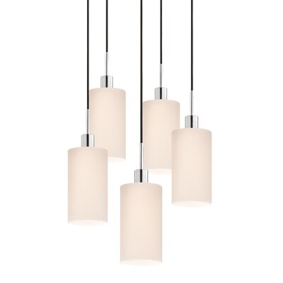 5-Light Cylinder Pendant Cord Color: Black