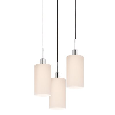 3-Light Cylinder Pendant Cord Color: Black
