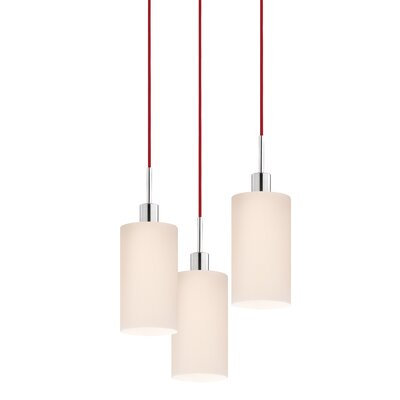 3-Light Cylinder Pendant Cord Color: Red