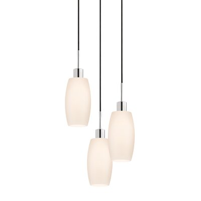 3-Light Barrel Pendant Cord Color: Black