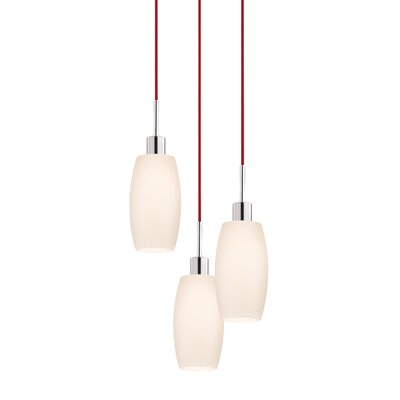 3-Light Barrel Pendant Cord Color: Red
