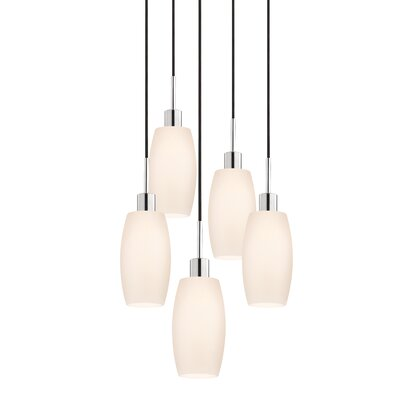 5-Light Barrel Pendant Cord Color: Black
