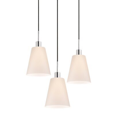 3-Light Tall Cone Pendant Cord Color: Black