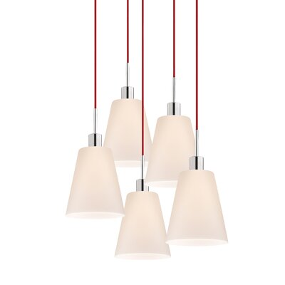 5-Light Tall Cone Pendant Cord Color: Red