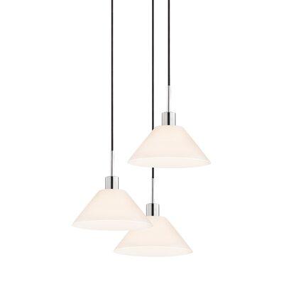 3-Light Cone Pendant Cord Color: Black