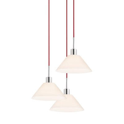 3-Light Cone Pendant Cord Color: Red