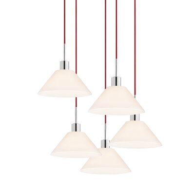 5-Light Cone Pendant Cord Color: Red