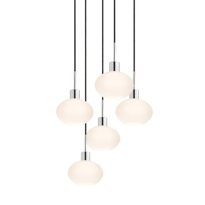5-Light Demi Pendant Cord Color: Black
