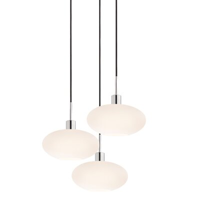 3-Light Oval Pendant Cord Color: Black