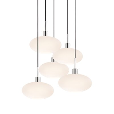 5-Light Oval Pendant Cord Color: Black