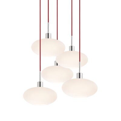 5-Light Oval Pendant Cord Color: Red