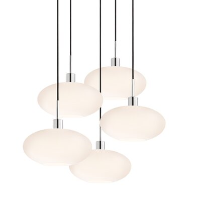 5-Light Grand Oval Pendant Cord Color: Black