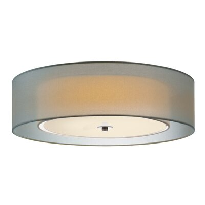 Puri 3-Light Flush Mount Shade Color: Satin Nickel, Size: 7 H x 22 Diameter, Bulb Type: Fluorescent