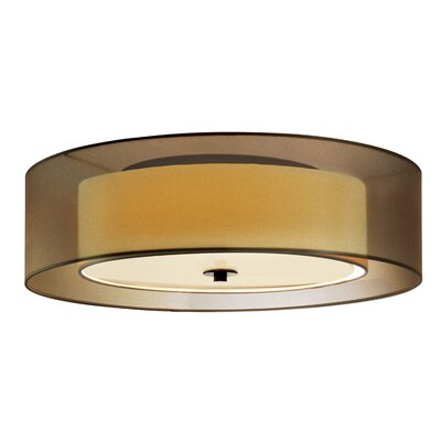 Puri 3-Light Flush Mount Shade Color: Black Brass, Size: 7 H x 22 Diameter, Bulb Type: Fluorescent