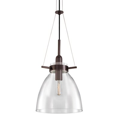 Castelli 1-Light Foyer Pendant Glass Color: Clear, Finish: Rubbed Bronze