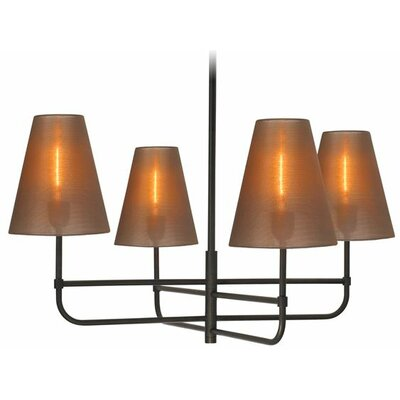 Bistro 4-Light Kitchen Island Pendant Finish: Black Bronze, Shade Color: Bronze