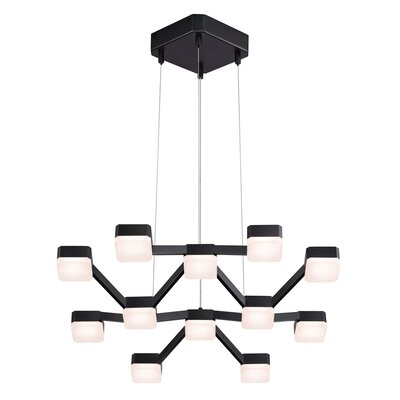 Lattice 12-Light Cluster Pendant Shade Color: White Etched, Finish: Satin Black