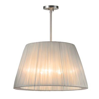 Organza Wrap 3-Light Tapered Drum Pendant Shade Color: Silver