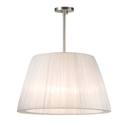 Organza Wrap 3-Light Tapered Drum Pendant Shade Color: White