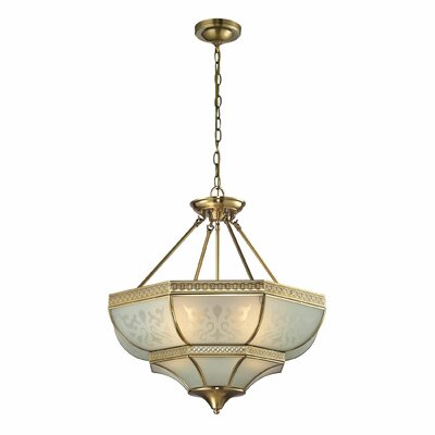 French Damask 4-Light Bowl Pendant