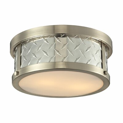 Diamond Plate 2-Light Flush Mount Bulb Type: 60W Med. Bulb